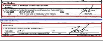 ▲ 상단은 2015년 4월 10일 캘리포니아주 국무부에 제출된 이종원의 람블라주택 차명소유주인 JLAG가 제출한 법인서류이며 하단은 2016년 8월4일 캘리포니아주 국무부에 제출된 RCA 일렉트로닉스[액티브온]의 법인서류로, 이종원의 서명과 존리의 서명이 정확히 일치, 동일인임을 알 수 있다.