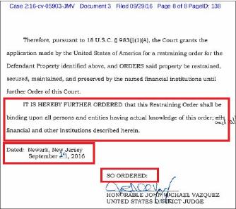▲ 미 법무부의 밍젱무역관련 자산 압류소송에 대해 연방법원이 사흘만에 압류를 승인했다