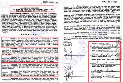▲ 제일은행 뉴욕지점과 박만규측이 1995년 10월 13일작성, 10월 20일 서명한 채무내역합의서 - 신용대출만 2750만달러, 모기지대출이 27만5천달러에 달했다.
