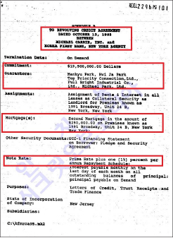▲ 박만규가 1995년 10월 13일부로 제일은행에 제공한 1950만달러짜리 채무노트[어음]