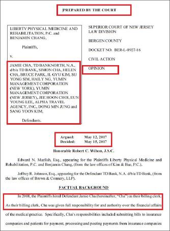 ▲ 뉴저지버겐카운티법원이 TD뱅크에 대한 소송을 기각시켜 달라는 요청을 각하하고 디스커버리등을 통해 책임여부를 따져봐야 한다고 밝혔다.