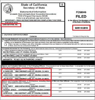 ▲ 다나에스테이트 2016년3월 16일 법인내역보고서류 - CEO는 이희상, CFO와 세크리테리는 전재만이 맡고 있다.
