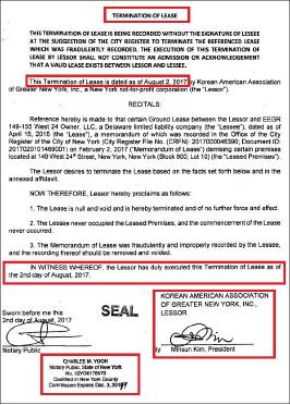 ▲ 뉴욕한인회가 지난 2일 작성해 4일 등기한 '리스종료'문서 - 8월 2일자로 이스트앤드캐피탈의 리스가 종료됏다는 내용을 담고 있다.