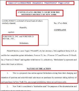 ▲ 로라 토것이 지난달 24일 뉴욕남부연방법원에 포에버21을 상대로 세금빙자 부당이득취득에 따른 5백만달러 손해배상소송을 제기했다