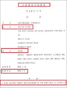 ▲ 바른테크놀로지의 김수연상대 손해배상소송 승소판결문