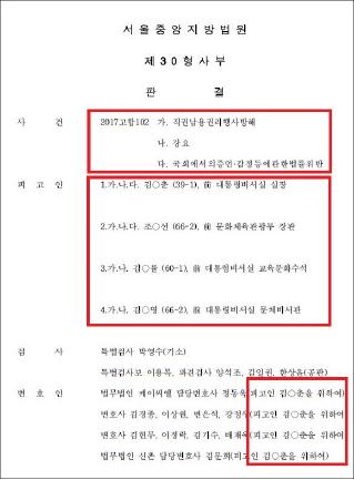 ▲ 김기춘 비서실장, 조윤선 문체부장관등 4명에 대한 1심판결문 표지