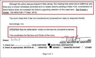 ▲ 뉴욕카운티법원은 지난 3월 17일 삼성화재의 불편법정의 원칙에 대한 기각요청을 받아들이지 않았다.