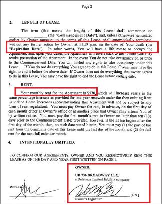 ▲ 2013년 6월 28일 김씨측과 전소유주간의 클로징당일 김씨는 전소유주에게 3층 종신리스를 부여하는 합의서의 부속서류에는 월 렌트비를 570달러로 한다는 내용이 포함돼 있다.