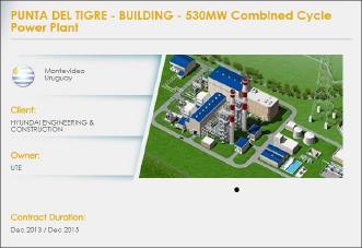 ▲ 산토스CMI홈페이지에도 우루과이 복합화력발전소 건설에 참여했다고 기재돼 있다.