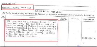 ▲ 김형욱 사망판결 뒤 뉴저지주 버겐카운티 상속법원에 제출된 재산상속서류. 서류 상단에 '김형욱의 재산'이라는 제목 하에 부동산 부분이라고 명시돼 있으며, 조지아주의 토지내역과 추정가치가 적혀 있다.