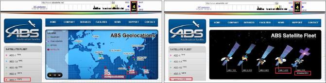▲ ABS 2011년 4월 4일자 웹사이트 - KT는 무궁화3호위성이 2011년 9월 4일이후 ABS에 인도됐다고 밝혔지만, ABS웹사이트에는 2011년 4월이미 ABS-7 , 즉 무궁화3호위성을 운영하고 있다고 명시, 정식 인도전에 KT가 위성운용권을 ABS에 넘겼을 것이라는 의혹을 낳고 있다.