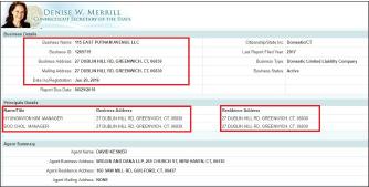 ▲ 김형권씨가 지난해 8월 매입한 그리니치 부동산의 소유법인내역 - 이 법인의 매니저는 김형권씨등 2명이며, 법인 사업장주소는 물론 매니저2명의 주소도 김씨의 그리니치저택으로 기재돼 있다.