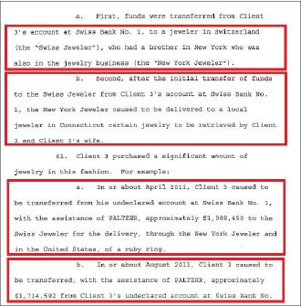 ▲ 연방검찰이 2013년 4월 16일 뉴욕남부연방법원에 제출한 에드가 팔쳐 변호사에 대한 기소장 - 팔쳐변호사가 보석환치기를 제안, 2011년 4월과 8월, 각각 약 2백만달러에 육박하는 보석을 구매했다는 내용이 기재돼 있으며 이는2017년 10월 26일 버지니아동부법원에 제출된 김형권의 범죄사실과 정확하게 일치한다.