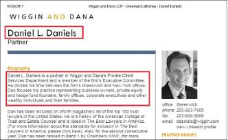 ▲ 김형권의 그리니치저택 차명소유주 다니엘 다니엘스 변호사는 유명로펌인 위긴앤다나의 파트너변호사로, 부유층고객서비스팀을 이끌고 있다.