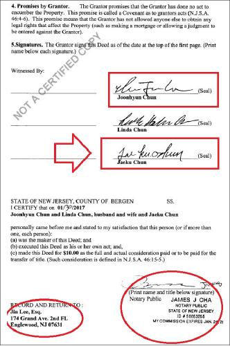 ▲ 전린다 매입계약서의 전재구 서명- 이 권리증서는 '이진'변호사가 준비했고, 제임스 차라는 공증인이 전재구씨가 자신앞에서 서명을 했다고 공증했다.