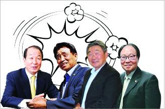 ▲ 왼쪽부터 배무한, 조갑제, 최일순, 김준배 축제재단 이사