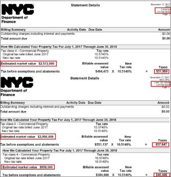 ▲ 2017년 한인소유 3개 건물에 대한 재산세가 무려 15만달러로, 2003년 매입뒤의 7200달러보다 무려 21배가 올랐다. 특히 가장 가치가 높은 세탁소건물의 뉴욕시 감정평가가가 공터의 3분의 1에 불과, 뉴욕시가 한인소유주를 빨리 내쫓기 위해 아무 원칙없이 재산세만 올렸다는 의혹이 제기된다.