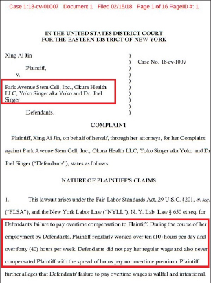 ▲ 진모씨는 지난 2월 15일 파크애비뉴스템셀을 상대로 임금미지급에 따른 손해배상소송을 제기했다.