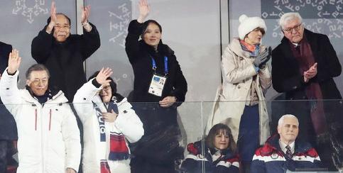 ▲  미국대표단장 마이크 펜스 부통령(오른편앉은 사람)이 남북단일팀 입장에 앉아서 맞이하고 있다.