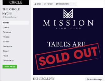 ▲ 서클의 페이스북,  미션나이트클럽 오픈일의 테이블은 이미 모두 매진됐음을 알리고 있다.