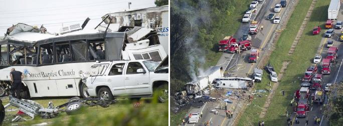 ▲ 2013년 10월 2일 테네시주  40번 고속도로에서 한국타이어를 장착한 교회버스 교통사고로 6명이 사망하고 12명이 중경상을 입었다