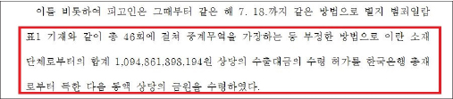 ▲ 한국법원 판결문 - 정씨는 이란으로 부터 1조948억원을 수출대금조로 송금받았다.