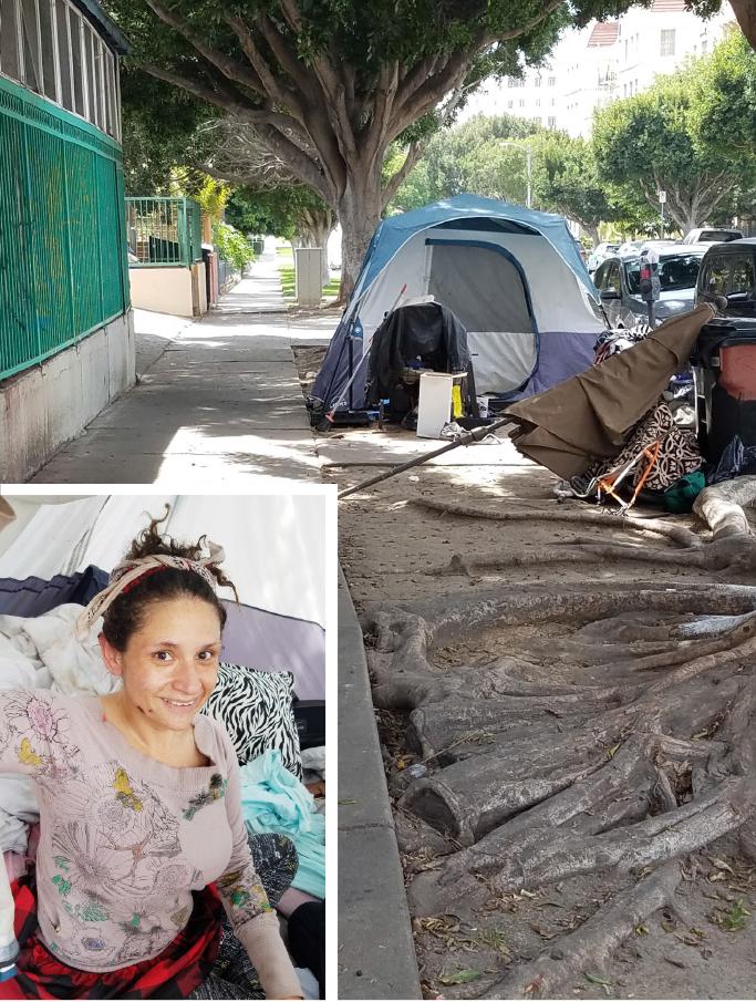 ▲코리아타운 8가에 노숙자 텐트 생활을 하는 뮤제트씨가 본보기자와 인터뷰하고 있다.