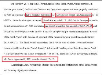 ▲ 국제중재법원은 지난 3월 9일 KT가 계약을 위반했고, ABS는 계약을 위반한 적이 없다며 KT의 손해배상청구는 모두 기각하며 KT가 ABS에 103만달러를 배상하라고 최종판정했다.