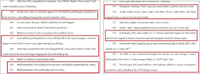 ▲ (왼쪽)하이디 길버트의 성추행피해사례, ▲ 앰버 민스의 성추행피해사례
