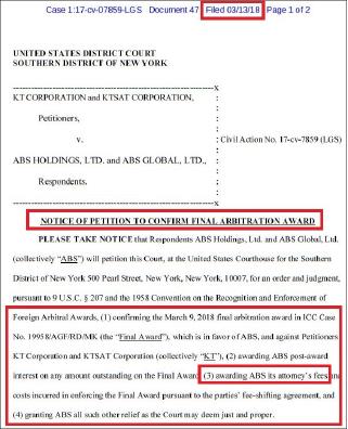 ▲ ABS는 지난 3월 9일 국제중재법원이 KT소송에서 최종승소판정을 받았다며 지난3월 13일 뉴욕남부연방법원에 이 판결을 인용해달라고 요청했다.