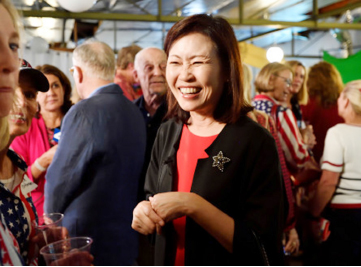 ▲ 미셀 스틸 후보가 승리파티에서 환하게 웃고 있다.