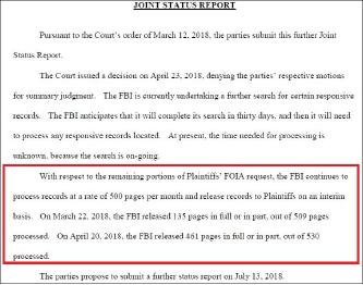 ▲ 프라퍼티오브더피플이 승소함에 따라 FBI는 지난 3월부터 매달 트럼프관련 비밀문서 5백페이지 내외를 공개하고 있으며, FBI의 한국인도박관련 보고서는 지난 5월말부터 공개되고 있다.