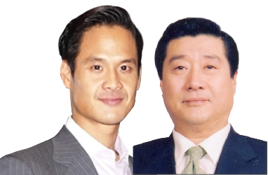 ▲(왼쪽부터) 방정오 조선일보 TV조선 전무,  방용훈 코리아나 호텔 회장