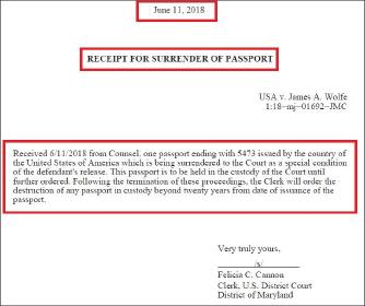 ▲ 제임스 울프는 지난달 7일 체포된뒤 11일 메릴랜드연방법원에 자신의 여권을 자진반납했고, 메릴랜드연방법원은 21일 여권을 워싱턴DC연방법원에 넘긴 것으로 확인됐다.