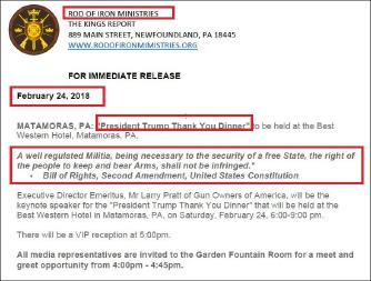 ▲  2018년 2월 14일 총기소지옹호법안 지지를 위한 트럼프대통령 땡큐디너 개최 안내문