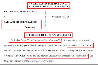 ▲ 2014년 3월 21일 세나텍은 미연방검찰과 뇌물을 준 사실을 인정하고 벌금 50만달러를 납부하는 조건으로 기소유예합의서를 작성했다.