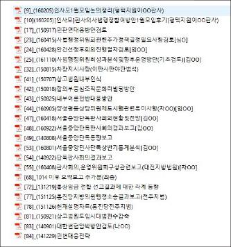 ▲ 사법권남용의혹 법원행정처 공개문건 목록 일부