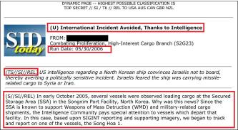 ▲ 국가안보국은 2005년 10월 북한 송림항에서 정체불명의 화물을 선적하는 정보를 입수, 이 배가 어디로 가는지, 무엇을 싣고 있는지등을 지속적으로 추적한 것으로 드러났다.