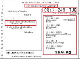 ▲ 연방검찰이 지난해 2월 15일 아리조나연방법원에 제출한 폴정으로 알려진 변성호씨 기소장