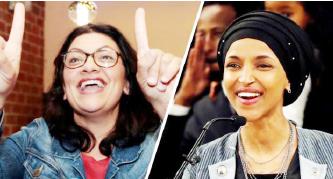 ▲무슬림 여성 의원 라시다틀레입(왼쪽)과 일한오마르