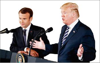 ▲트럼프 대통령(오른편)과 마크롱 프랑스 대통령