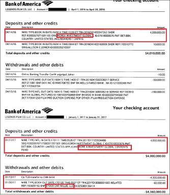 ▲ 한국투자파트너스는 2016년 4월 14일과 2017년 1월 11일 두차례에 걸쳐 각각 4백만달러씩 8백만달러를 아담 조이너에게 송금했다.