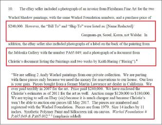 ▲ 연방검찰이 법원에 제출한 서류에 따르면 브레인 월시가 당초 이베이에 올린 설명서에는 '한국 서울 강남구 0000'으로 발행된 24만달러 앤디 워홀작품 인보이스가 첨부돼 있었다.