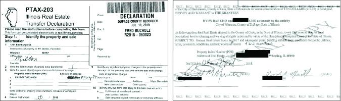 ▲(왼쪽)  조현배목사부부가 주택매매계약서와 함께 클럭오피스에 제출한 양도세 납입증명서 ▲ 조현배목사부부의 아파트 매입계약서