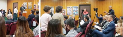 ▲공청회에서 남가주 한국학원 관계자들이 총영사관 주도의 공청회에 항의하고 있다.