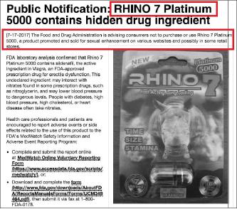 ▲ FDA 는 지난해 7월 17일 리씨가 제조한 '리노7 플래티넘 5000'에 FDA승인을 받아야 하는 비아그라 원료성분이 포함돼 있다며 소비자들에게 이 제품을 사지 말라고 권고했다.