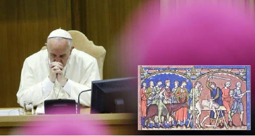 ▲프란치스코 교황이 지난 2015년 주교회의에서 동성애 이슈 토론에서 심각한 자세를 보이고 있다.