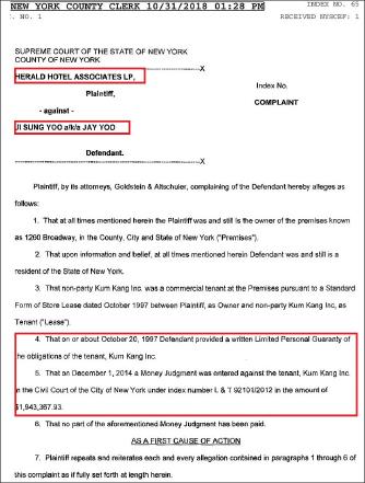 ▲ 맨해튼 금강산의 랜로드인 헤럴드호텔측이 2018년 10월 31일 금강산법인을 상대로 2014년 12월 1일 승소판결을 받았으므로 연대보증인인 유지성사장 개인을 상대로 194만여달러 승소판결을 인용해달라고 요청했다.