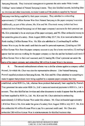 ▲ 농심측 변호인인 KCL로펌 이석현변호사가 2018년 10월 22일 연방법원에 제출한 진술서를 통해 '전인장-김정수 부부가 한국법원에서 횡령혐의를 인정했다'고 밝혔다.