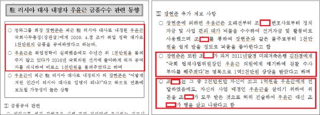 ▲ 우윤근 금품수수관련 첩보보고서